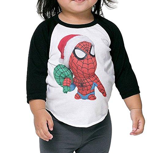 Gary Children Baseball Raglan Chriastmas Spider Man Tshirt Black 3 Toddler