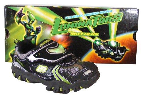 New Toddler Boys Black Green Skechers Luminators Light Trainers NWT Size 4 5 6 8