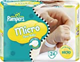 Pampers New Baby Size 0 (1-2.5 kg) Micro Nappies - Pack of 24
