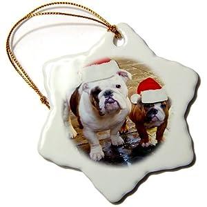 3dRose orn_63087_1 English Bulldog Christmas Wearing Santa Hats Snowflake Decorative Hanging Ornament, Porcelain, 3-Inch