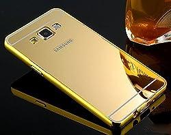 Aryamobi Gold Luxury Metal Bumper + Mirror Back Cover Case For Samsung Galaxy E5
