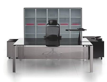 Glasschreibtisch Glider, Burotisch, Schreibtisch, Chefburo, hochwertige Buromöbel