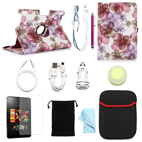 """Arion Kindle 11-Item Accessory Bundle Kit For New Amazon Kindle Fire Hdx 8.9"""" Tablet - 360 Rotating Stand Pu Leather Case, Screen Protector, Cleaning Cloth, Stylus Pen,Car Charger,Usb Sync Cable, Aux Cable, Earphone, Wire-Holding Box, Sleeve Case, Drawstr"""
