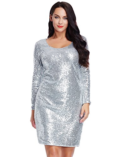 LookbookStore Women's Plus Size Silver Sequin Party Club Cocktail Bodycon Short Dress 24W