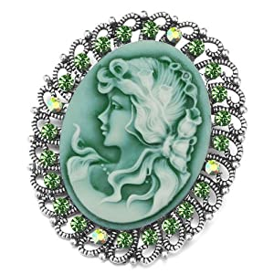 Pugster Silver Tone Floral Filigree Vintage Antique Peridot Green Beauty Cameo Lady Maiden Profile Emerald Green Swarovski Crystal Brooches Pins