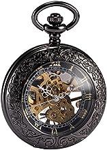 AMPM24 Mens Steampunk Skeleton Mechanical Copper Open Face Retro Pendant Pocket Watch Gift WPK164