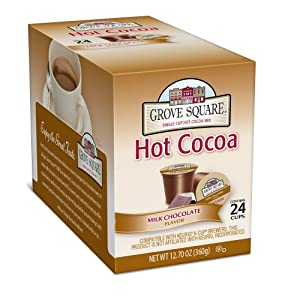 Grove Square Hot Cocoa, Milk Chocolate, 24 Count Single Serve Cup for Keurig K-Cup Brewers