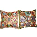 2 Ethnic Vintage Silk Sari Toss Pillow Chair Cushion Coversby Mogulinterior