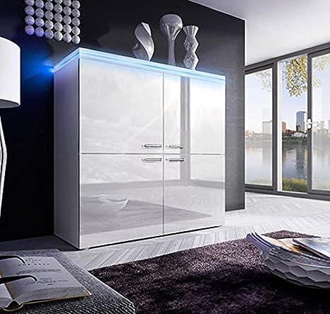 Design Ameublement - Bahut Rosalia blanc avec LED