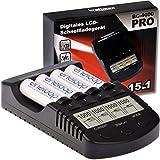 Kraftmax BC-4000 Pro - Akku Ladegerät mit LCD-Display und Mikroprozessor / Hochleistungs- Schnellladegerät für Akkus der neuesten Generation optimiert (z.B. für Eneloop Akku Batterien) schwarz