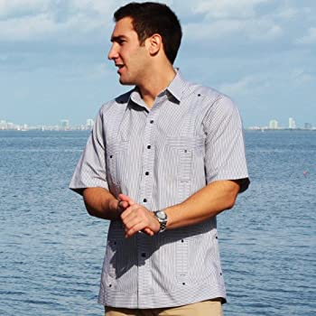 Deluxe Short Sleeve fitted White-Black Stripped Guayabera