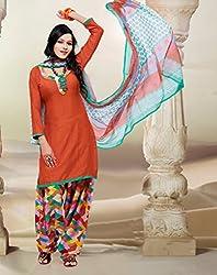 SareeShop Women's Georgette Semi-Stitched Dress Material (B2B1074_Orange_Free Size)