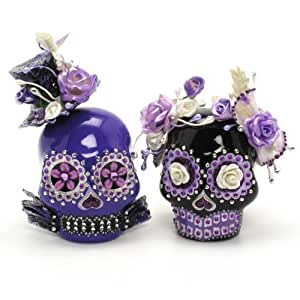 Purple and Black Skull Lover Wedding Cake Toppers Day of The Dead A00079 Gothic Wedding Calavera Ceramic Handmade