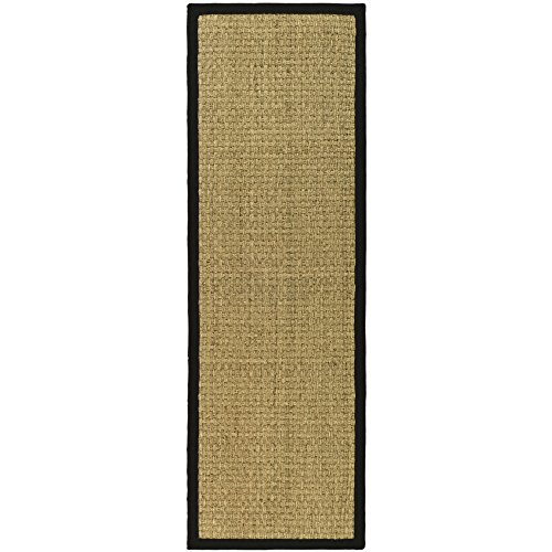 Safavieh Natural Fiber Collection NF114C Natural and Black Seagrass Runner, 2 feet 6 inches by 18 feet (2'6