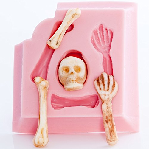 Skeleton Skull Silicone Mold Food Safe Fondant, Chocolate, Candy, Resin, Polymer Clay Mold. Flexible easy to use.