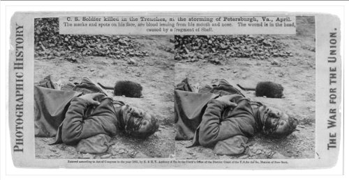 Stereoview (L): C.S. soldier killed in the trenches at the storming of Petersburgh sic Va. April
