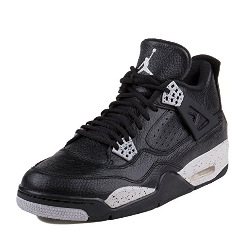 "Nike Mens Air Jordan 4 Retro LS ""Oreo"" Black/Tech Grey Leather Basketball Shoes"