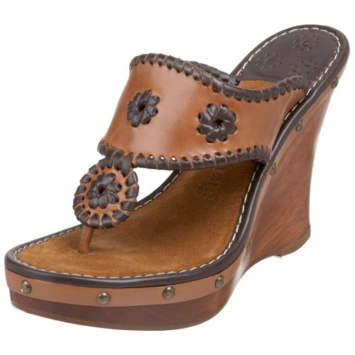 Jack Rogers Women's Marbella Wedge Sandal, Dark Brown, 6 M US