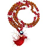 Malabar Gems Rudraksha Mala 108+1 Beads With Red Onyx For Evil Eye Protection
