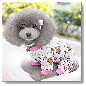 PanDaDa Small Pet Dog Pajamas Dog Shirts Cartoon Print Jumpsuit Apparel Dog Coat Pink S