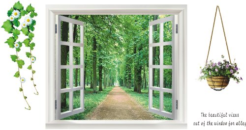 Hunnt® Window Forest View, Removable, Transparent Wall Sticker, Wall Decoration