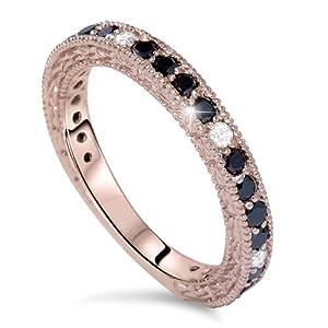 Pink Rose Gold .85CT Black White Diamond Wedding Ring