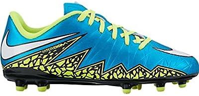Nike Jr. Hypervenom Phelon II FG Indoor Soccer Shoe (Blue Lagoon, Volt)