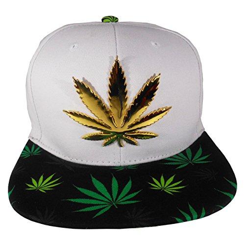 Cap2Shoes-Mens-Marijuana-Metal-Weed-Leaf-Snapback-One-Size