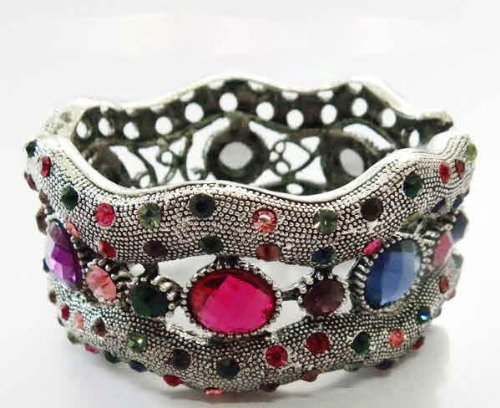 Metal Bracelet with Multicolor Stones