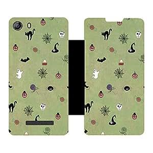 Skintice Designer Flip Cover with hi-res printed Vinyl sticker wrap-around for Micromax Canvas Spark 2 Q334