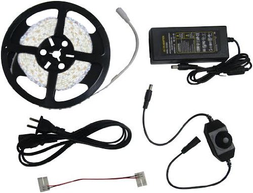 Complete ready to use Kit -Bright COOL WHITE Led Light Ribbon Strip - Quick and Easy installation - Includes 3A Transformer (adapter) , 1 Jumper (2 pin 15cm), and a Dimmer. 16.4 Ft (5 Meter) Spool, 30