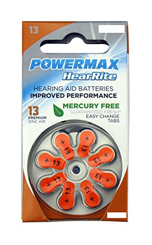 Powermax HearRite Zinc Air Mercury-Free Hearing Aid Batteries, Size 13