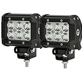 """Penton 2pcs 4"""" 18w Cree LED Work Light Bar Flood Beam 60 Degree Waterproof for Off-road Truck Car ATV SUV Jeep Boat 4wd ATV Auxiliary Driving Lamp-pack of 2"""