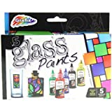 Grafix Set Of 5 Glass Paints - Make & Design Your Own Glass Art !