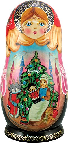 Artistic Wood Carved Russian Matreshka Nutcracker Doll with Ornaments Sculpture Holiday and Christmas Decoration