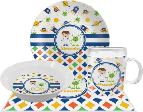 Boy'S Space & Geometric Print Dinner Set - 4 Pc (Personalized) front-647159