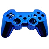 XFUNY® Chrome Finished Replacement Shell Case Cover Housing Kits with Buttons for Sony PlayStation 3 PS3 Controller (Blue)