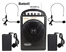 HISONIC HS122BT-LL Portable PA System with Dual Channel Wireless Microphones , Lithium Rechargeable Battery, Bluetooth Streaming Music From your Cell Phones,iPads, Android Pads and Computer, with Car Cable and Carry Bag, PA system, Black