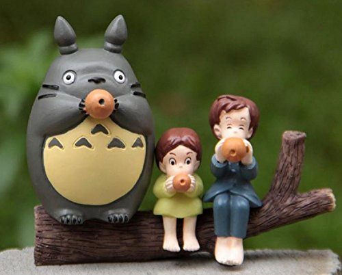 4pcs/lot Totoro Toys My Neighbor Totoro Satsuki Mei Sitting in the Tree PVC Action Figures Collection Model Toy Micro Landscape