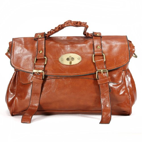 Fashion Retro Brown Pu Leather Messenger Tote Shoulder Handbag