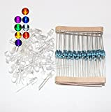 M.best 5mm Assorted Clear LED Light Emitting Diodes Electronic 1/4 W Resistors Pack of 80 (8 Colors )