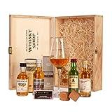 """Schottischer Whisky Shop Whiskyset (4 x 0.05 l) - Glenfarclas 15, Edradour 10, Auchentoshan 12, Jameson, Spiegelau Whiskyglas und BoojaBooja Schokolade-Himbeervon """"Schottischer Whisky Shop"""""""
