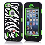 Apple Iphone 5c Fashion Camo Zebra Combo Print & Aztec Tribal Print Hybrid Armorbox Defender Case Protection Impact Bumper Dual Layer Heavy Duty Case Pc&rubber Silicone Material with Hard Holster (Not Fit Iphone 5 & 5s / Bayke Brand / Screen Protector Not Include) (Zebra Combo Print)