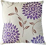 "Decorative chrysanthemum Flower Embroidery Floral Throw Pillow COVER 18"" Purple"