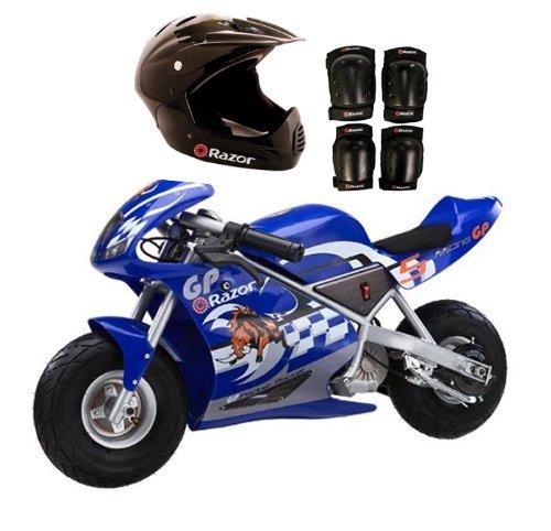 New Razor Pocket Rocket Electric Motorcycle Bike W Razor Full Face Helmet & Pads