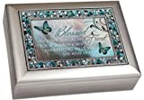 """Im so Blessed to Have You as My Friend"" Friendship Brushed Silver Finish Decorative Jewel Lid Musical Jewelry Box - Plays Wind Beneath My Wings"