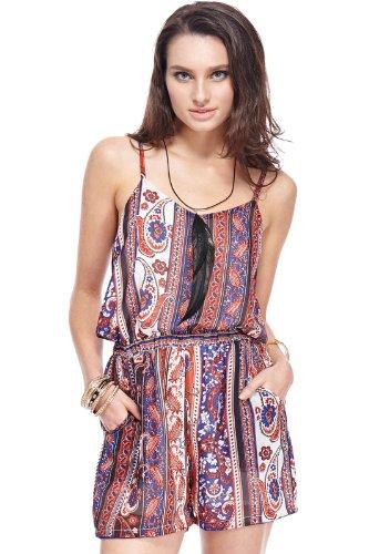 Romwe Women'S Boho Paisley Pattern Polyester Romper-Colorful-L front-540383