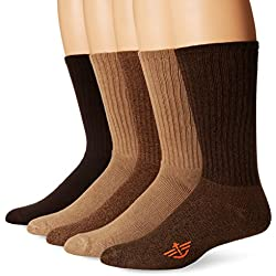 Dockers Men's Docker's 5 Pack Cushion Comfort Sport Crew Socks, Khaki/Assorted, 10-13 Sock/6-12 Shoe