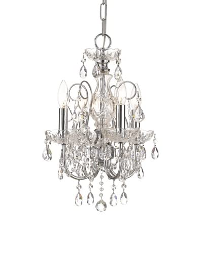Gold Coast Lighting Solid Brass 4-Light Crystal Chandelier Accented with Hand Cut Crystal