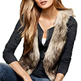 FINEJO Women Sleeveless Casual Faux Fur Vest Gilet Jacket Coat by NYC Leather Factory Outlet